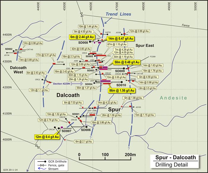 图三,Spur-Dalcoath找矿远景区矿脉结构和钻井位置分布(包括SD003,SD004和SD005)