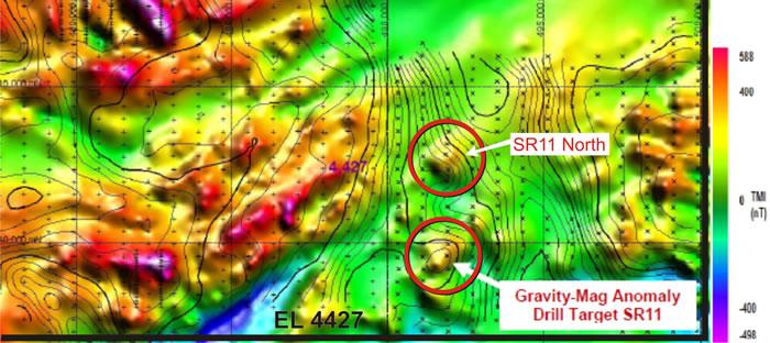 图2 – Oolgelima山项目,EL4427,在当地磁场数据上添加了重力等高线,标注重点代表两处重力和磁性同时发生的异常