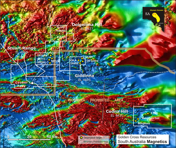图3 – Oolgelima山南,SR11 Bore,同时发生的磁性和重力异常区域