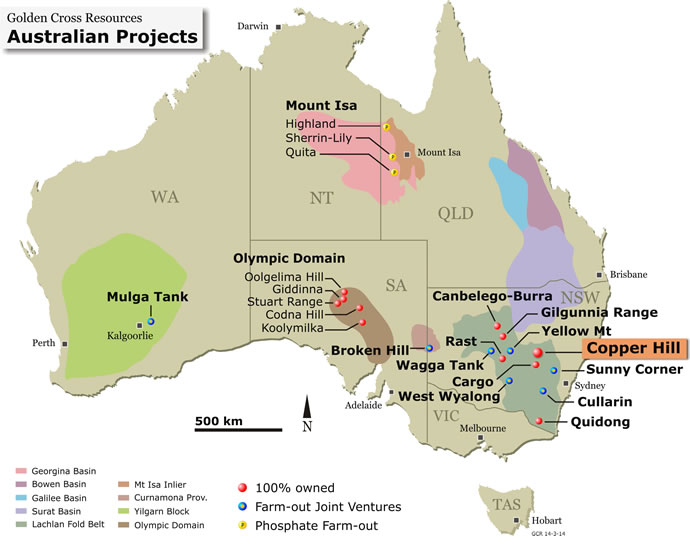 Australian Projects Map Golden Cross Resources