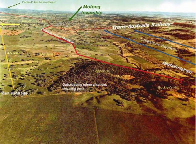 Figure 2. Copper Hill – Aerial view from North showing key infrastructure elements and the town of Molong in the middle distance.