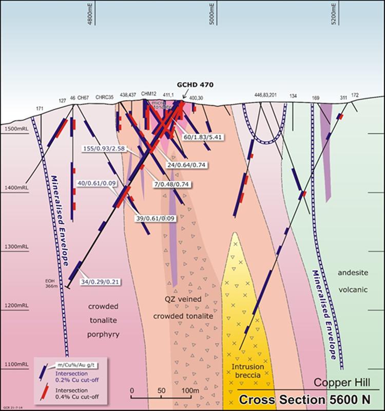 Figure 4: Cross Section 5600N showing key drill intercepts