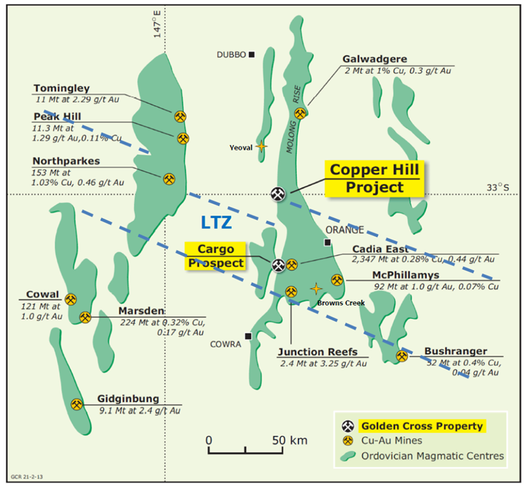 Figure 10: Regional setting of Copper Hill and mines/projects